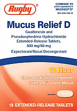 Mucus Relief D Tablets, Rugby 18-Count