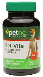 Pet-Vite Vitamin Chews for Dogs 75 Count